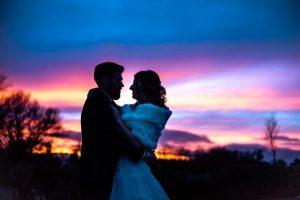 Bride and Groom Essex Sunset