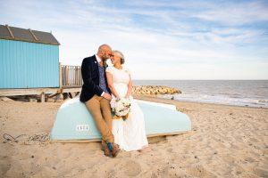 bride and groom at felixstowe beach